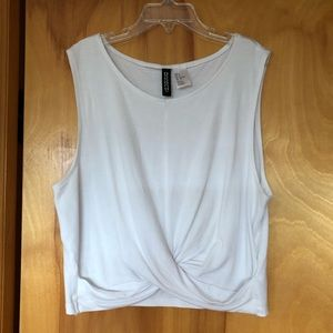 H&M DIVIDED Knot Detail White Cropped Tank Top